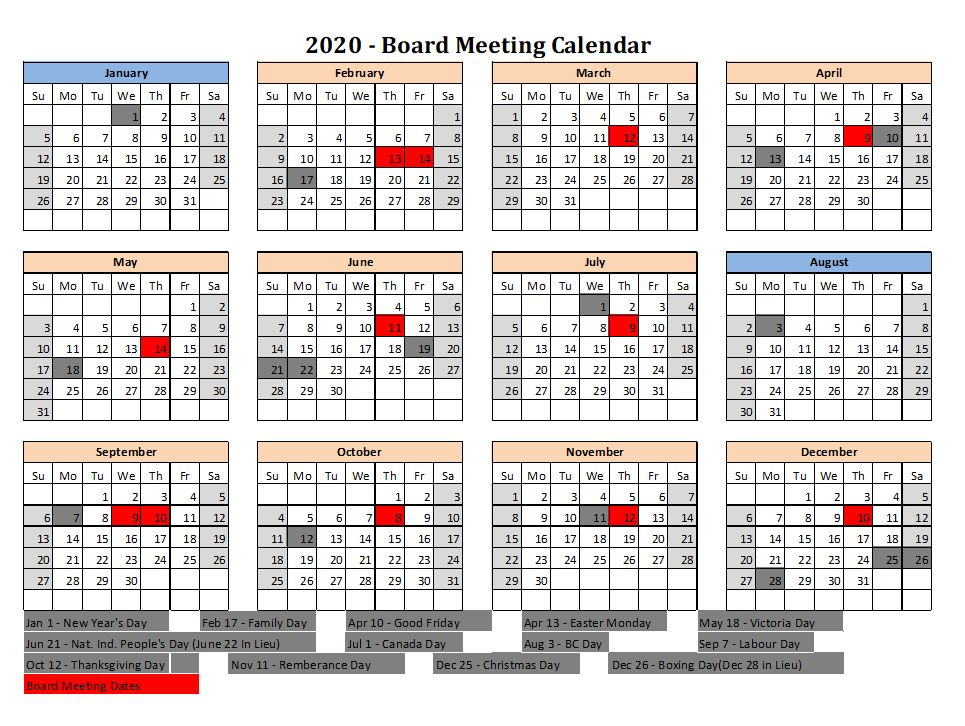 Updated June 11, 2020 Board Meeting Calendar